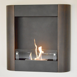 Focolare Muro Noce Dark Walnut Wall Mounted Ethanol Fuel Fireplace