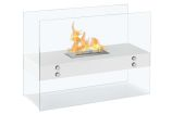 Vitrum H White Freestanding Ventless Ethanol Fireplace