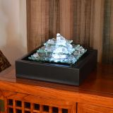 Glacier Ice Lighted Glass Bubbling Table Top Fountain