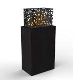 Grand Black Woodgrain Fireplace Laguna Side Table With Aqua Flame Cartridge