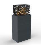 Grand Charcoal Fireplace Laguna Side Table With Aqua Flame Cartridge