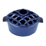 T50BL- 2.2 qt Enamel Steamer - Lattice Top