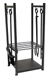 Black Wrought Iron Log Rack With Tools