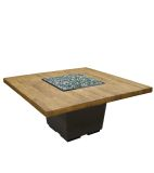 "60"" French Barrel Oak Cosmopolitan Square Dining Firetable - LP"