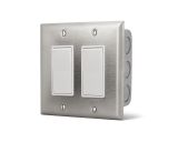 Dual On/Off Switch Wall Plate with Gang Box - 20 Amp Per Switch
