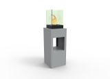 Vertikal Bio Ethanol Fireburner Stand And Display Unit In Silver Grey