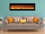 "Sideline 72"" Recessed Electric Fireplace with Heat - Black"