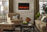"Sideline 36"" Recessed Electric Fireplace with Heat - Black"