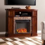 Hillcrest Faux Stone Electric Media Fireplace - Espresso