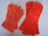 """13"""" Cotton Lined Fire Retardant Leather Gloves - Russet Red"""