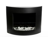 Diamond I Black Wall Mounted Ethanol Fireplace with Safety Glass