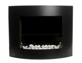 Diamond II Black Wall Mounted Ethanol Fireplace with Safety Glass