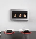 Square Small I Stainless Steel Wall Mounted Ethanol Fireplace