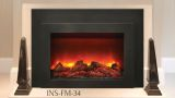 "34"" Deep Insert Electric Fireplace w/Black Steel Surround and Overlay"