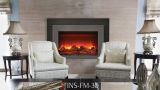 "30"" Deep Insert Electric Fireplace w/Black Steel Surround and Overlay"