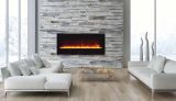 "50"" Electric Fireplace with Black Glass Surround and Clear Media"
