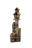 Alpine WCT1002 Three Tiered Birdhouse with Cardinal Fountain