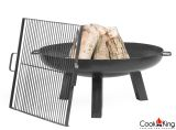 "Cook King Polo 23.6"" Black Steel Fire Bowl w/ 17.4"" Grill Grate"