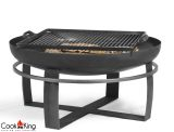 "Cook King Viking 23.6"" Black Steel Garden Fire Bowl with Grill Grate"