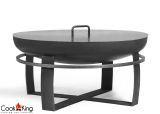 "Cook King Viking 23.6"" Black Steel Garden Fire Bowl with Lid"