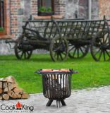 "Cook King Verona 23.6"" Black Steel Garden Firebasket with Grill Grate"