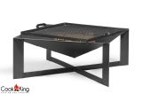 "Cook King Cuba 27.6"" x 27.6"" Black Steel Fire Bowl with Grill Grate"