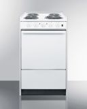 """20"""" Wide Slide-In Style Coil-Top Electric Range in White"""