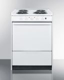 """24"""" Wide Slide-in Style Coil-Top Electric Range in White"""