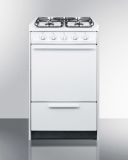 """20"""" Wide Slide-In Gas Range in White with Sealed Burners"""