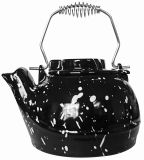 UniFlame C1921 2.5 QT Porcelain Coated Kettle - Black w/White Speckles