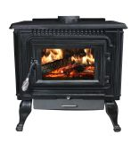 2,000 Sq Ft. Black Enameled Porcelain Cast Iron Wood stove with Blower