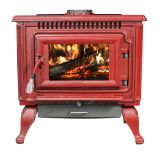 2,000 Sq. Ft. Red Enameled Porcelain Cast Iron Wood stove with Blower