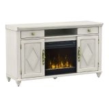 Swedish Classics TV Stand w/ClassicFlame Elec. Fireplace- Baltic White
