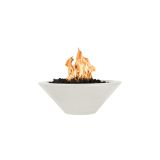 """Cazo 36"""" Round Tapered LP Fire Bowl in Limestone - Match Lit"""