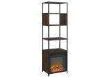"70"" Urban Industrial Metal and Wood Tower Fireplace - Dark Walnut"