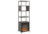 """70"""" Urban Industrial Metal and Wood Tower Fireplace - Grey Wash"""