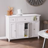 SEI MS0294 Fairbury 3-in-1 Media Console/Sideboard in White