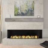 "Acacia 60"" Mantel Shelf with Weathered Gray Finish-Natural Distressing"