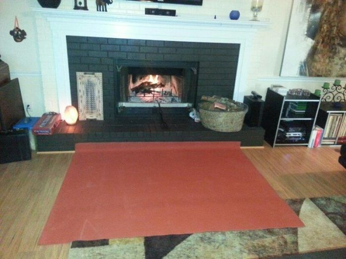 "PyroProtecto 60"" x 80"" Double Layer Hearth Rug - Redwood"