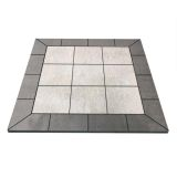 "NY Hearth Pewter Rock 40"" x 40"" Tile Hearth Pad- Square Wall"