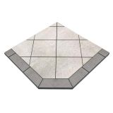 "NY Hearth Pewter Rock 54"" x 54"" Tile Hearth Pad- Corner"