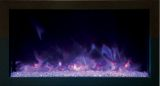 "30"" Extra Slim Built-In Electric Fireplace with Black Steel Surround"