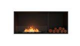 Flex Single Sided Bioethanol Firebox-Black Finish-White Side