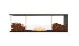 Flex Peninsula Bioethanol Firebox-Black Finish-Decorative Two Side