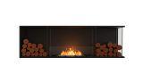 Flex Right Corner Bioethanol Firebox-Black Finish-Decorative Two Side