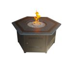 Hexagon Fire Pit with Faux Stone Top and Black Accents
