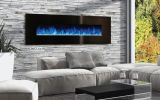 """Modern Flames 144"""" Ambience Electric Fireplace with Black Glass Front"""
