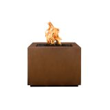 """Forma 42"""" Square Corten Steel Fire Pit with Match Lit Ignition - NG"""