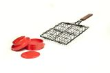 Charcoal Companion Non-Stick Stuff-A-Burger Basket and Press Set