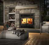 Stratford Wood Fireplace w/Prairie Style Faceplate and BN Overlay